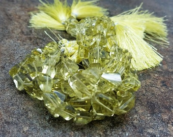 10 mm , Lemon Quartz Faceted Nuggets , 8 Inch
