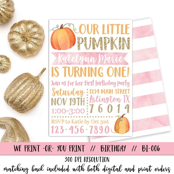 Pumpkin 1st birthday invitation our little pumpkin like this item filmwisefo Image collections