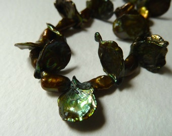 Olive Green Keishi Cornflake Lotus Pearls - 10mm to 12mm - High Luster - AAA