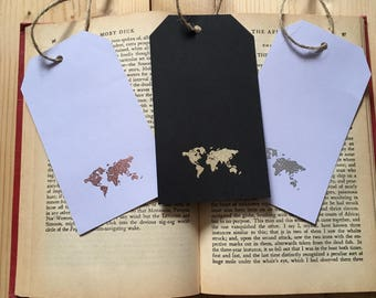 Handmade World Map Luggage Tag Bookmark Gold/ Silver/ Copper/ Rose Gold