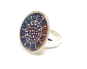 Sterling silver ring, organic ring, diatom ring