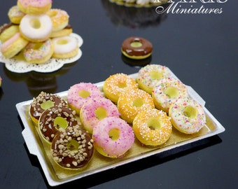 Tray of Tiny Donuts - 12th Scale Miniature Food for Dollhouse