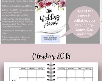 Wedding Planner Printable, Wedding Planner, Wedding Planner pdf, Planning Book, Wedding Binder Template, Engagement Gift Ideas, PDF Download