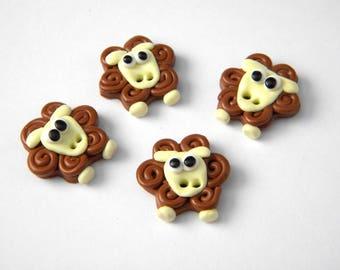 Handmade Brown sheep button