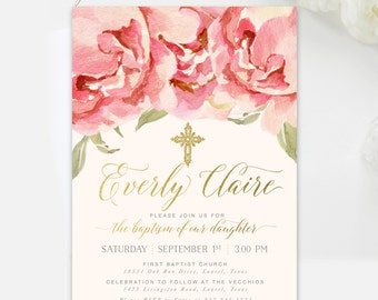Baptism Invitation Girl, Blush Pink Floral: Christening Invitation Girl, Dedication Invitation Girl, Girl First Communion Invite - Everly