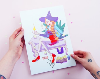 Riverdale Witch Series Cheryl Blossom, A4, Pastel, Plants, Betty Cooper, Veronica Lodge, Archie Comics, Art, Illustration, Print, Poster
