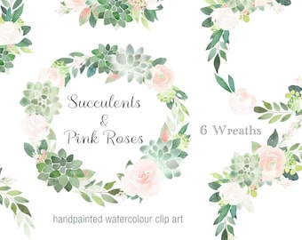 Watercolor Wreath Clipart - succulents and pink roses 6 wreaths, wedding wreaths, floral graphics, bridal graphics, scrapbooking, branding