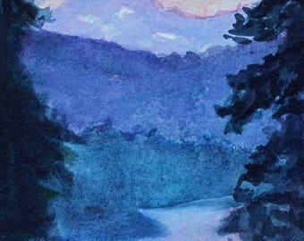 Lake Painting Landscape Painting Watercolor Painting Mountain Painting Original Giclee Prints Fine Art Gift Idea Magnets Free Shipping #77