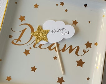 Gold Star on White Cloud 'Heaven Sent' Baby Shower Cupcake Toppers, Set of 12