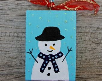 Painted Snowman Ornament made from Wood - Blue Wood Ornament - Handmade Christmas Tree Ornament - Primitive Art Holiday Decoration