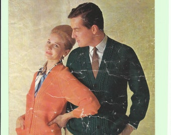 vintage knitting pattern his'n'hers cardigans