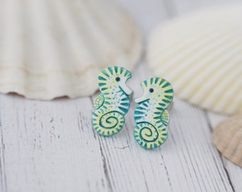 Little Seahorses Stud Earrings Seahorse Hippocampus Earrings 5 Matte