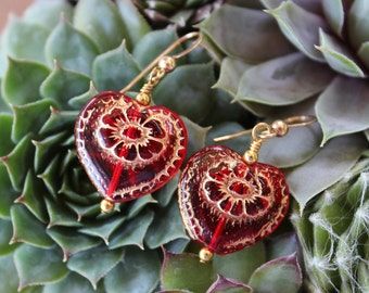 Hearts on fire earrings - Bohemian gold-washed scarlet red glass heart beads on 14k gold filled earwires - free shipping in USA