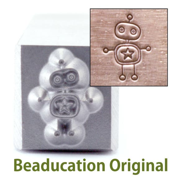Robot Metal Design Stamp 5mm wide by 7mm high - Beaducation Original