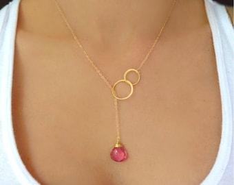 Lariat Necklace Gold, Gemstone Necklace, Pink Quartz Necklace, Gemstone Y Necklace, Bridesmaid Jewelry Gift, Teardrop Necklace, Pink Wedding