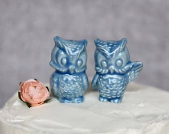 Owl Wedding Cake Topper - Two Little Owls in Stoneware with Sky Blue Glaze