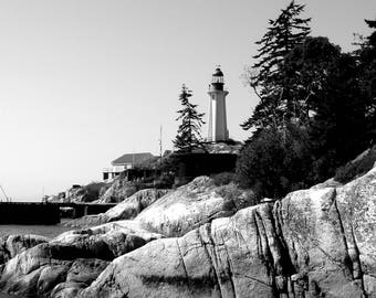 Wall Photography, Black and White Lighthouse