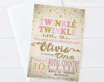 Twinkle Twinkle Little Star Invitation / Digital Printable Invite for Kids / first birthday Party / DIY 1st