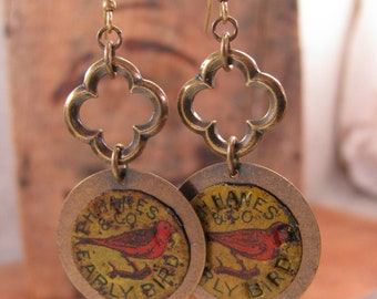 "Red Bird - Aviary Themed - ""Early Bird"" Brand Vintage Tobacco Tag Earrings with Antique Brass Quatrafoil Connector Ring Dangle Earrings"