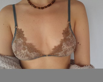 Bra, lace bra, soft lace, triangle bra, gift for her, lingerie, women's clothing,
