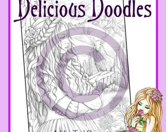 Monica of the Glen, Colouring Page, Coloring Page, Digital Stamp, Delicious Doodles