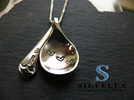 Sterling Silver Recycled Love Spoon Necklace - Just the three of us