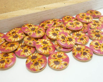 Wood Sewing Buttons with Sunflower Design (25mm 6pcs set)