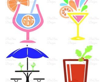 Cocktail Drinks SVG file, Summertime Monogram  svg, pdf, studio compatible and jpeg file