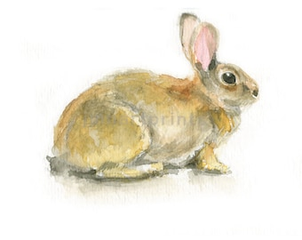 Watercolor Bunny, Bunny Print