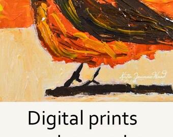 Orange Robin Bird Painting. Wildlife Animal Print. Office Wall Art Print. Home Wall Art Prints. Art By Katie Jeanne. 95