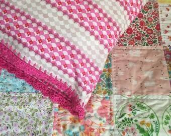 Vintage inspired Pillowcase with Pink Crochet Edging, Pink bedding