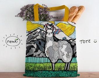 Llama Bag, Llama Book Bag, Cool Llama Bag, Cute Llama Bag, Llama Tote, Pretty Llama Bag, Llama Design Bag, Llama Work Gift, Llama Owners