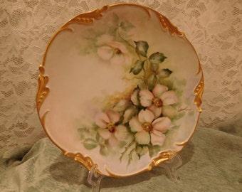 Vintage Ten Inch Plate with Dogwood Flowers by M Hiatt