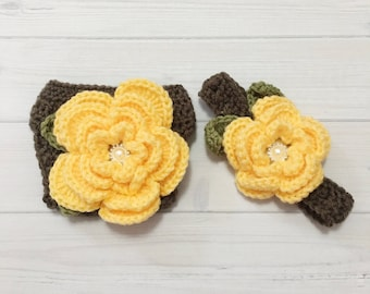 Ready Ship ! Newborn - 3months Baby Girl Photo Prop Handmade Crochet Flower Headband & Diaper Cover Set
