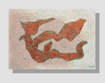 """Peinture abstraite en techniques mixtes sur toile. """"Apesanteur"""", tableau texturé blanc, gris rose poudré, cuivre, turquoise. mixed media"""