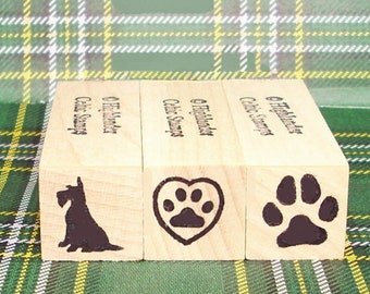 Scottie Dog Mini Rubber Stamp Set of 3 with Dog Silhouette & 3 Pawprints Scottish Terrier