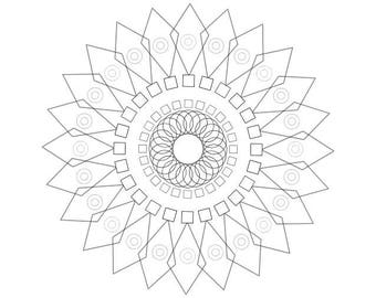 Downloadable Adult Coloring Page: Generative Floral Stars.