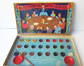 Vintage Water Color Paint Set, 1930's  Child's Knights of the Round Table Water Color Paint Box Set,  Vintage Toy, American Crayon Co