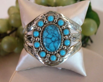 Vintage Native American Cuff Bracelet - Nickel Silver Bell Trading Post