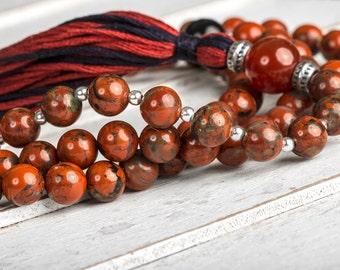 Healing Mala, Red Jasper Mala, Yoga Mala Necklace, Buddhist Mala, Meditation Malas, Tibetan Mala