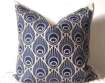 Navy Cushions, Peacock Cushion, Navy Peacock Cushion, Art Deco Cushion, Navy Blue Cushion, Pattern Cushion, Navy Throw Pillow