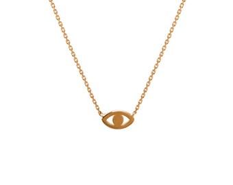 14k gold mini evil eye necklace, gold evil eye necklace