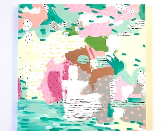 18 x 18 Original Painting / abstract art / modern art / ooak / acrylic painting / girls room decor / nursery wall decor / pink teal yellow