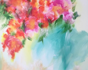 Original Abstract Floral Painting