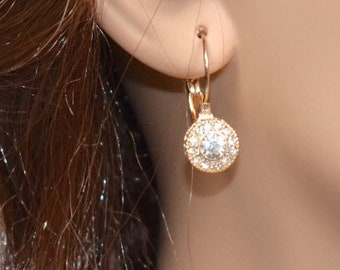 "1"" Gold clear round Halo Dangle Earrings, Rhinestone crystal Earrings, Bridal jewerly,Bridesmaid jewerly, Dangle Earrings, Drop Earrings"