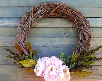 Spring Wreath,Summer Wreath, Seasonal Wreath,Handmade Wreath,Front Door Wreath,Sparkly Wreath,Pastel Tone Wreath,Elegant Wreath,Grapevine