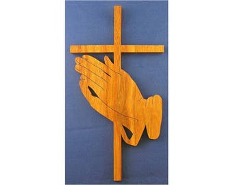 Praying Hands Cross - Hand Cut From Canarywood