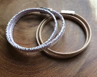 Leather Wrap Bracelets, Gold Wrap Bracelet, Snake Wrap Bracelet, Pink Wrap Bracelet, Wrap Bracelet, Double Wrap Bracelet, Birthday Gift