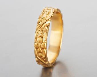 Floral wedding band gold, 14K solid gold floral wedding ring, carved gold ring, antique wedding bands for women, art nouveau wedding band