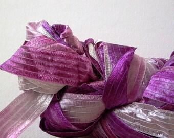 purple ribbon . feza yarns lydia . hyacinth 302 . 74yd 50g . super bulky wide silky ribbon art yarn . lavender lilac purple shades ribbon